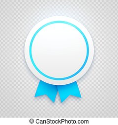 Badge with blue ribbon on transparent background