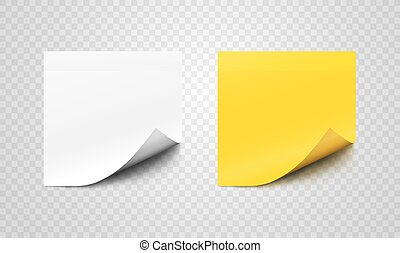 Set of sticky paper sheets with curl on corners - White and...