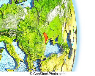 Moldova in red on Earth - Moldova in red on model of planet...