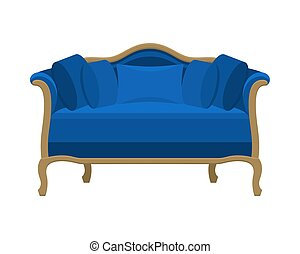 Blue vintage sofa. Antique couch.