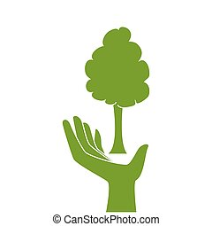 green silhouette hand holding a tree plant