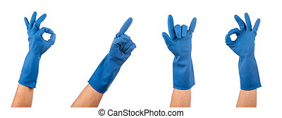 blue rubber glove - Hand gestures in blue rubber glove over...