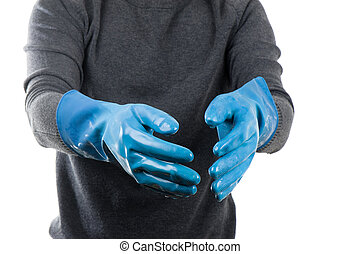 blue rubber glove - the blue rubber glove wet after use