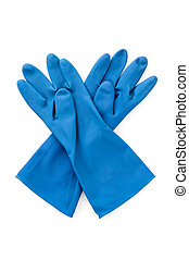 blue rubber glove isolated on white background, personal...