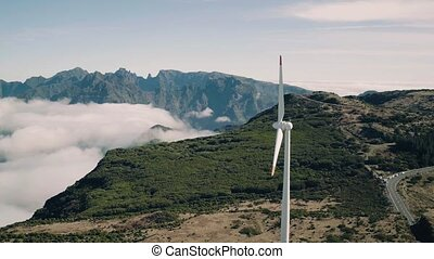Aerial View of Energy Producing Wind Turbines, Madeira...