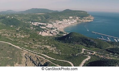 Aerial View of Sesimbra Town and Port, Portugal