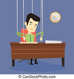 Business man marionette on ropes working. - Asian business...