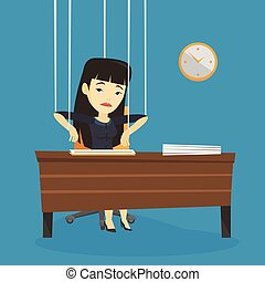 Business woman marionette on ropes working. - Asian woman...