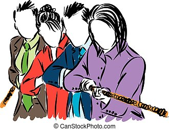 business people team pulling rope illustration