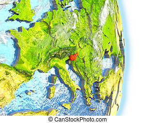 Slovenia in red on Earth - Slovenia in red on model of...