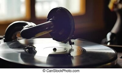 Old Gramophone, playing a record, close up Loop-able Vintage...