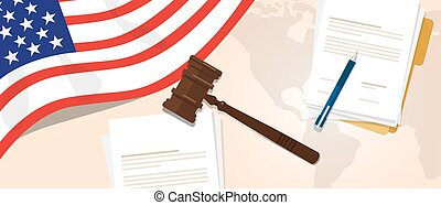USA United States of America law constitution legal judgment justice legislation trial concept using flag gavel paper and pen