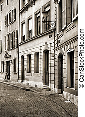 Geneva - Old town cobblestone street in Geneva, Switzerland....