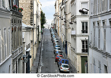 Montmartre hill in Paris, France. Typical old town street.