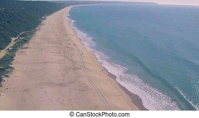 Aerial View Above Ocean Beach, Portugal