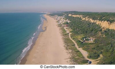 Aerial View Above Ocean Beach, Portugal
