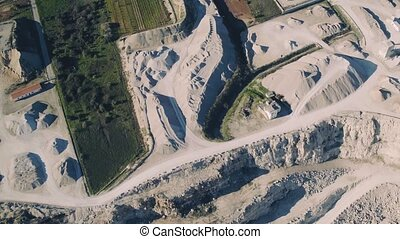 Aerial View of Open Pit Sand Quarries, Portugal