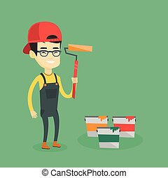 Painter holding paint roller vector illustration. - Asian...