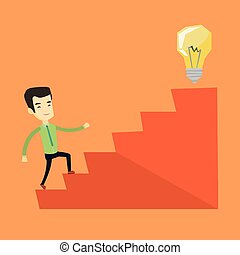 Business man walking upstairs to the idea bulb. - Asian...