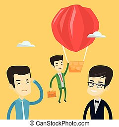 Business man hanging on balloon. - Two young asian employees...