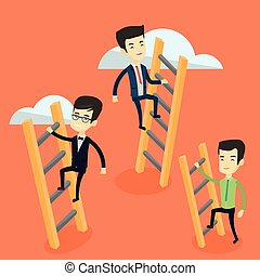 Business people climbing to success. - Business people...