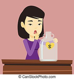 Bankrupt woman looking at empty money box - Worried business...