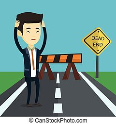 Business man looking at road sign dead end. - Asian...