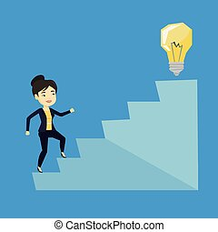Business woman walking upstairs to the idea bulb. - Asian...