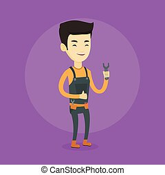 Repairman holding spanner vector illustration.