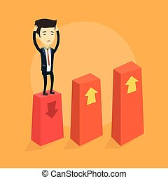 Bankrupt on chart going down vector illustration. - Asian...