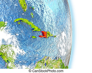 Haiti in red on Earth - Haiti in red on model of planet...