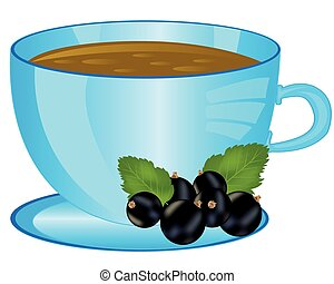 Cup of the drink with berry