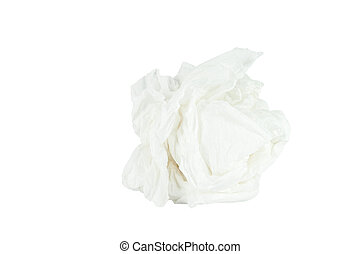 Crumpled tissue paper isolated white background. Save with...