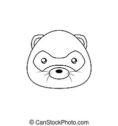 opossum Drawing Face - Abstract animal line drawing face on...