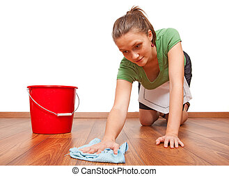 Woman getting tired - Service woman cleaning the wooden...