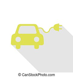 Eco electric car sign. Pear icon with flat style shadow...