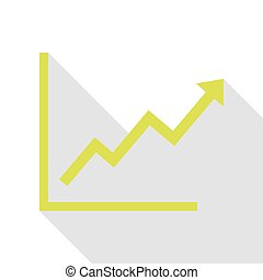Growing bars graphic sign. Pear icon with flat style shadow...