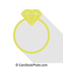 Diamond sign illustration. Pear icon with flat style shadow...