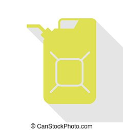Jerrycan oil sign. Jerry can oil sign. Pear icon with flat...