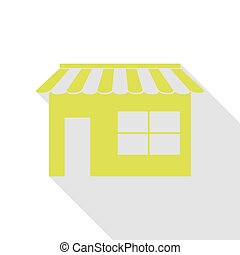 Store sign illustration. Pear icon with flat style shadow path.