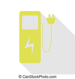 Electric car charging station sign. Pear icon with flat style shadow path.
