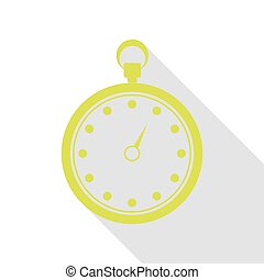 Stopwatch sign illustration. Pear icon with flat style shadow path.