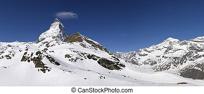 Matterhorn Peak in the village of Zermatt, Swiss Alps