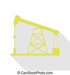 Oil drilling rig sign. Pear icon with flat style shadow...