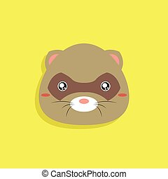 Cartoon Opossum face - Abstract cartoon animals face on a...