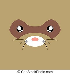 Cartoon opossum Background - Abstract cartoon animal face...