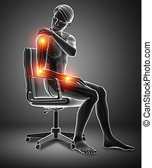 Men Feeling Arm joint pain - 3d Illustration of Men Feeling...