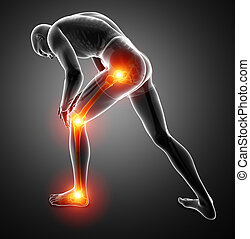 Male Leg Joint Pain - 3d Illustration of Male Leg Joint Pain
