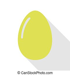 Chiken egg sign. Pear icon with flat style shadow path.