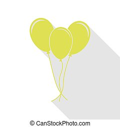 Balloons set sign. Pear icon with flat style shadow path.